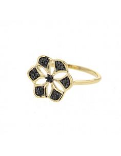 Bague fleur ajourée pavé de diamants noirs en or jaune