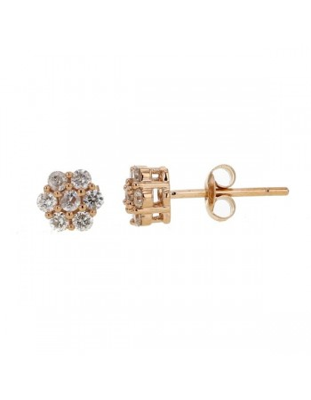 Multi-stone cluster diamond earrings in 18 K gold