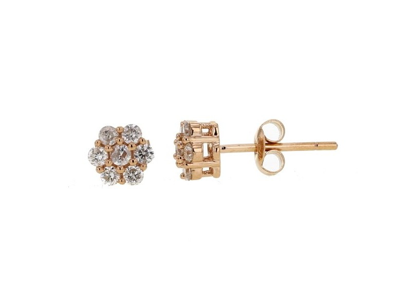 Boucles d'oreilles multi-pierres diamants illusions en or rose