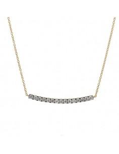 Collier barrette sertie diamants montée sur chaîne en or jaune