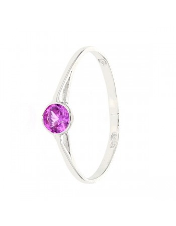 Bague bouton quartz rose en or blanc