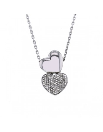 Two hearts pave set necklet in silver