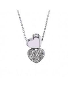 Collier deux cœurs diamants en argent