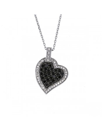 Black and white diamonds pave set heart necklace in silver