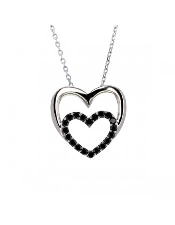 Black diamonds heart shape diamonds necklace in silver