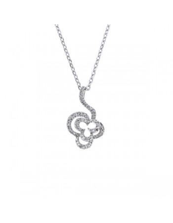 Flower shape diamond necklace in silver 925/1000