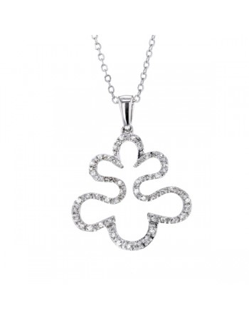 Leaf shape diamond necklace in silver 925/1000