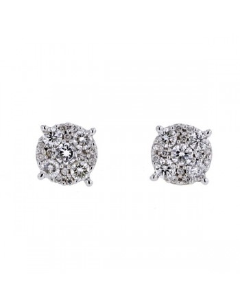 Boucles d'oreilles multi-pierres diamants en or blanc