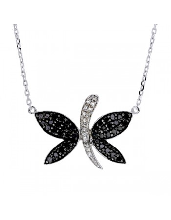Black and white diamond butterfly necklace in silver