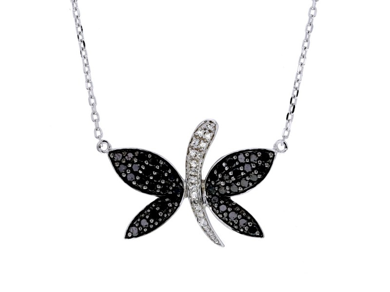 Collier papillon diamants noirs en argent