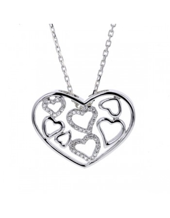 Hearts shape diamond pave set necklace in silver 925/1000