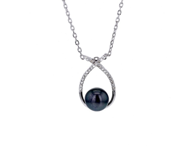 Black pearl and diamonds necklace in silver 925/1000