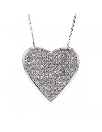 Heart shape pave set diamond pendant in silver