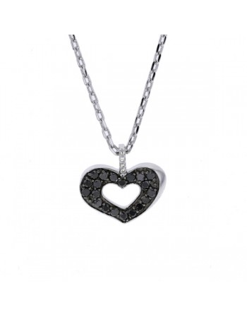 Heart shape black and white diamonds necklace in silver