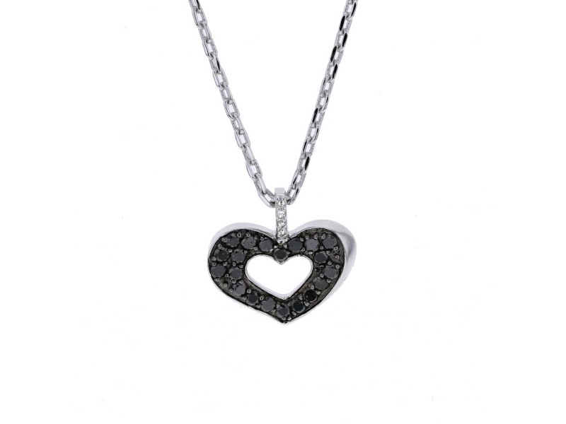 Heart shape black and white diamonds necklace in silver 925/1000