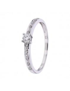 Bague solitaire de fiancailles accompagnés de diamants en or blanc