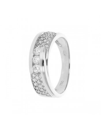Diamond pave set sided three stone ring in 18 K gold