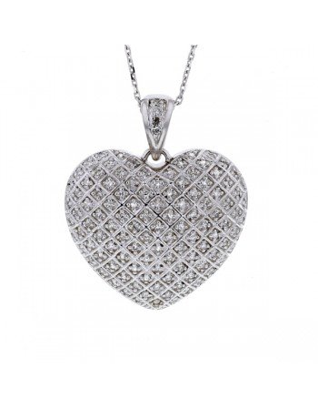 Pave set diamond heart shape pendant in silver