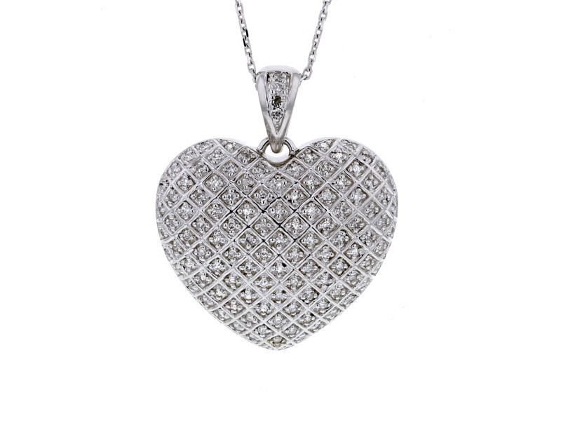 Pave set diamond heart shape pendant in silver 925/1000