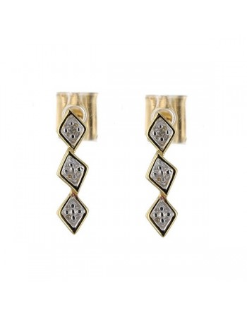 Two-colour tringualar shape earrings with diamonds in 9 K gold