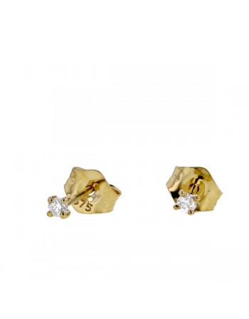 Light stud solitaire diamond earrings in 9 K gold