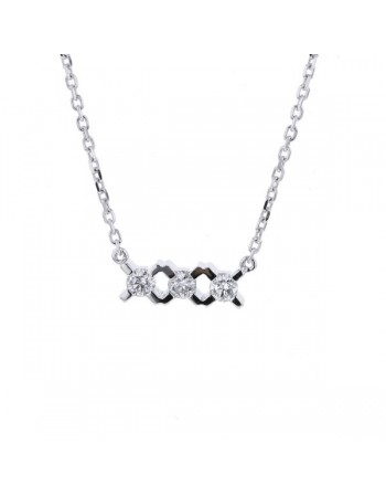 Collier trilogie de diamants en or blanc