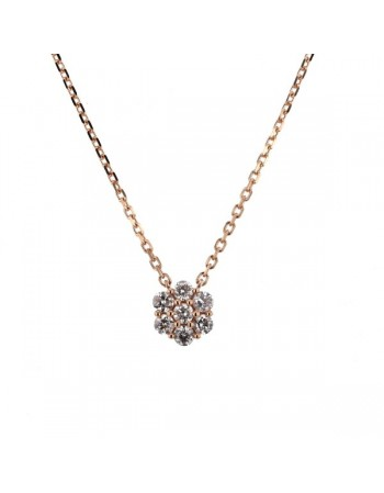 Collier multi-pierres diamants chaîne en or rose