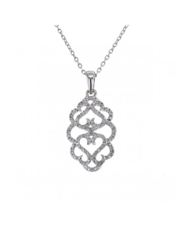 Collier motif filigrane avec diamants en argent