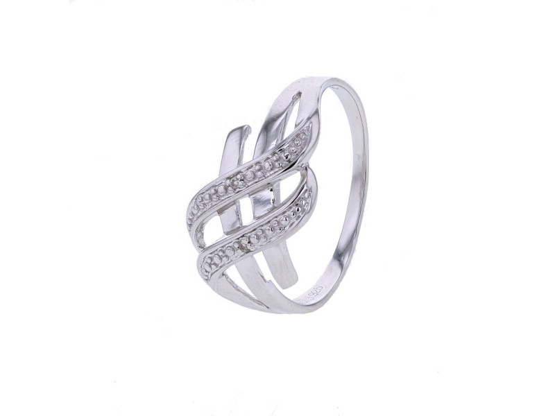 Ring pave set diamonds in silver 925/1000