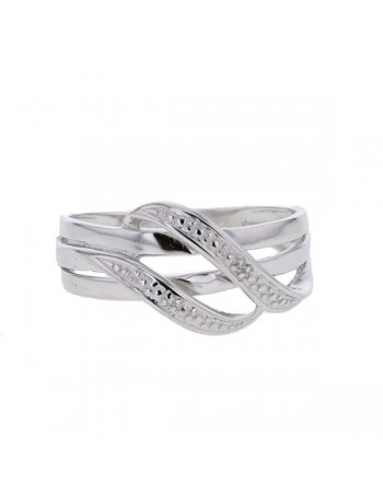 Shaped ring with pave set diamonds in silver