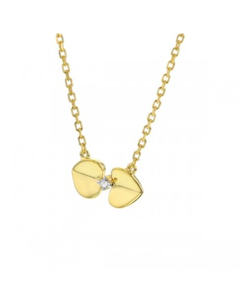 Collier coeurs diamants en or jaune