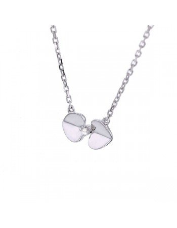 Mini twin-hearts diamond necklet in 9 K gold