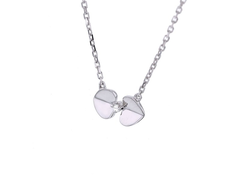 Collier coeurs diamants en or blanc