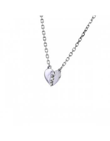 Collier coeur diamants en or blanc