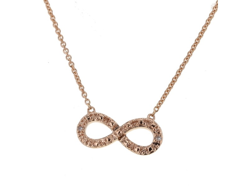 Collier chaîne infinity avec diamants en or rose