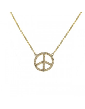 "Collier chaîne ""peace and love"" et diamants en or jaune"