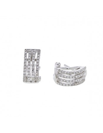 Boucles d'oreilles 4 rangs pavés diamants en or blanc