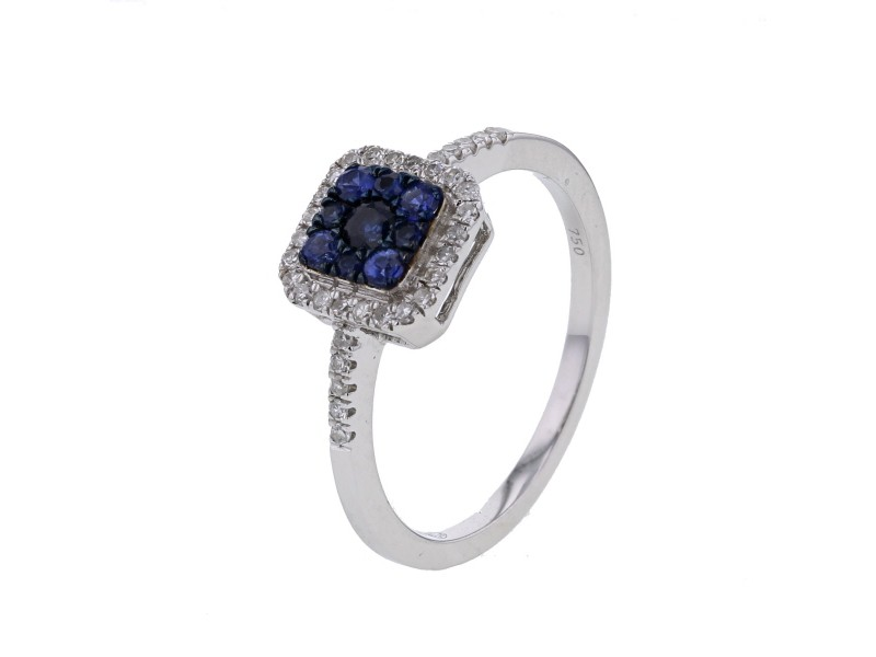 Square frame diamond ring with sapphires in 18 K gold