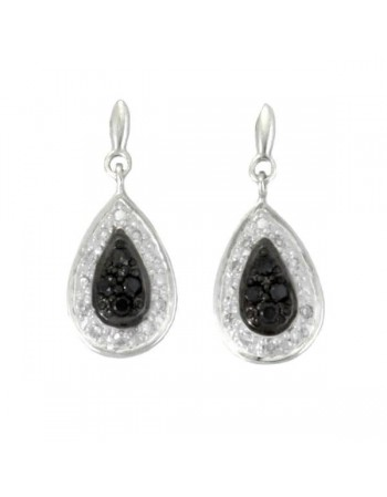 Drop earrings with tear shape black and white diamonds in 9 K gold