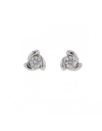 Twist diamond solitaire earrings in 9 K gold