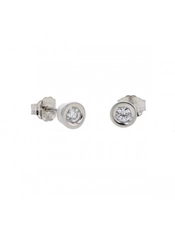 Bezel-set diamonds stud earrings in 9 K gold