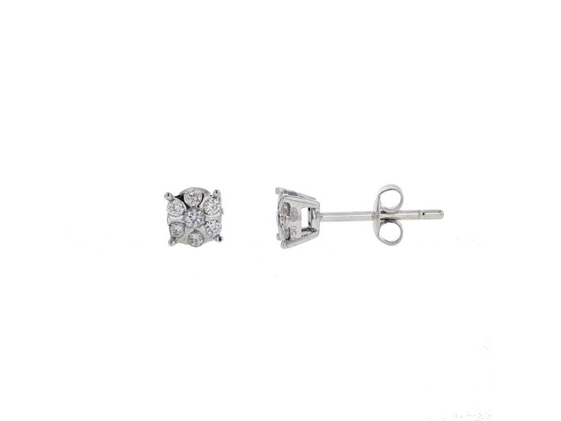 Boucles d'oreilles mutli-pierres diamants en or blanc