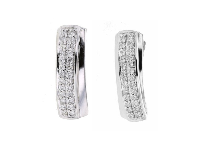 Boucles d'oreilles pavé diamants en or blanc
