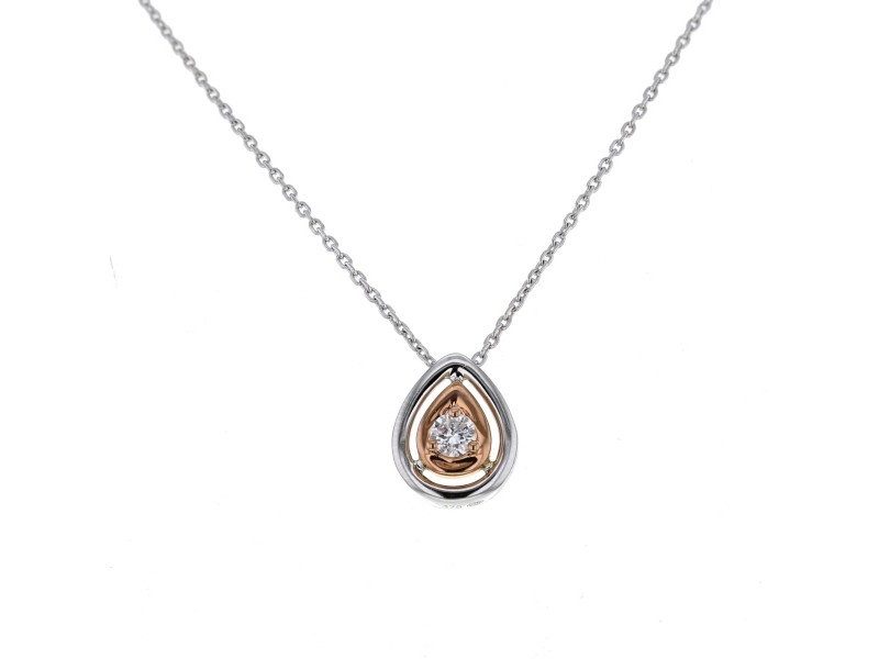 Pear shape two-colour solitaire necklace in 9 K gold