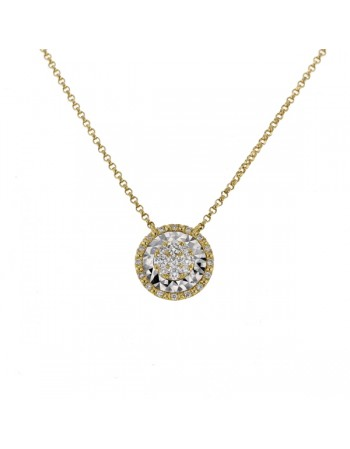 Collier rond diamants sertis cnc en or jaune