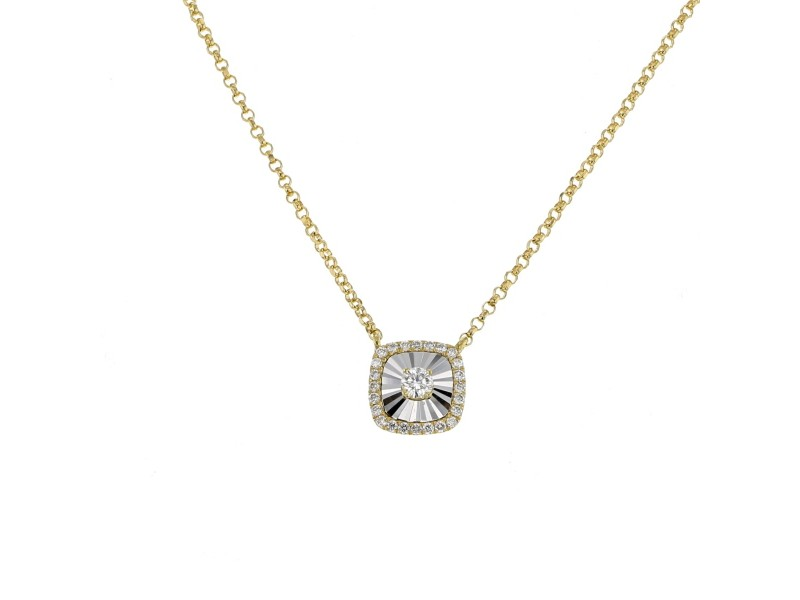 CNC set square shape diamond necklace in 18 K gold