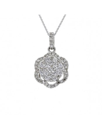 Pendentif fleur diamants en sertis grains en or blanc