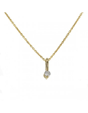 Solitaire diamond pendant in 9 K gold