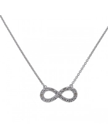 Infinity diamond necklet in 9 K gold