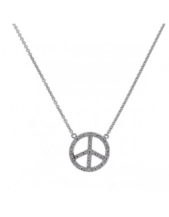 "Collier chaîne ""peace and love"" et diamants en or blanc"